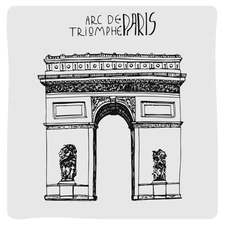Arc de triomphe, hand drawn vector illustration