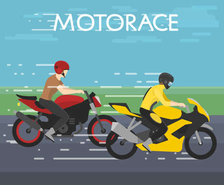 vector illustration of two motorcyclists racing on motorace, competition