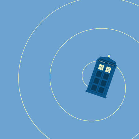 vector illustration of british police box on baclground Ilustração