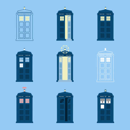 Set of British Police Boxes Icons of telephone boxes, telephone in London and England for Police call ,London public police call