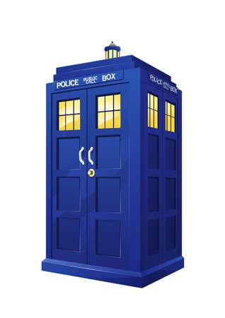 isolated british police box on white background