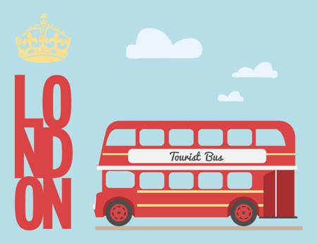 decker: Double decker bus cartoon from England British tourist symbol London red bus Illustration