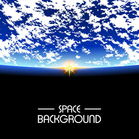 Rising Sun over the planet. space background