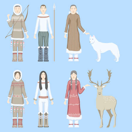 Characters eskimos women and men dressed in national costumes with ethnic weapons and animals reindeer and wolf