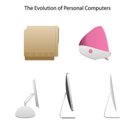 20th: evolution of computers different types of computers from 20-th century to now monitors included computer new computer old computers modern computers contemporary computers Illustration