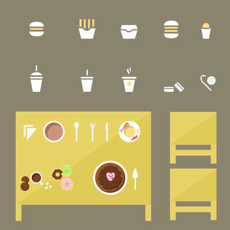 oil crops: food Icons set, food Icon Vector on the table Illustration