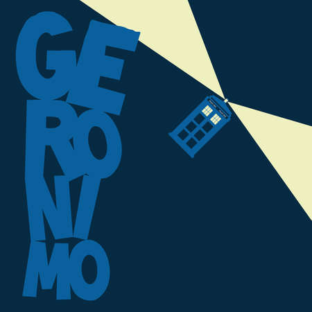 doctor who: Police Box flying with word Geronimo vector Illustration