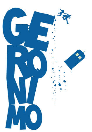 Police Box flying with word Geronimo vector Illustration