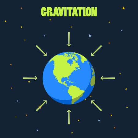 Gravitation on planet Earth concept illustration with planet and arrows that shows how force of gravity acts on Earth realistic vector of Earth Earth in space, Earth on black, Earth from distance