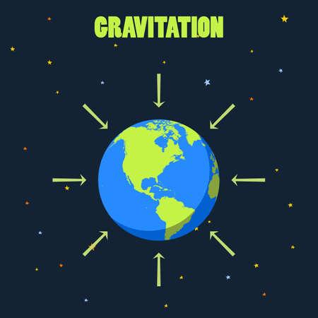 La gravitación en el planeta Tierra concepto de ilustración con el planeta y las flechas que muestra cómo la fuerza de la gravedad actúa sobre la Tierra realista del vector de la Tierra de la Tierra en el espacio, la Tierra el negro, la Tierra desde lejos Ilustración de vector
