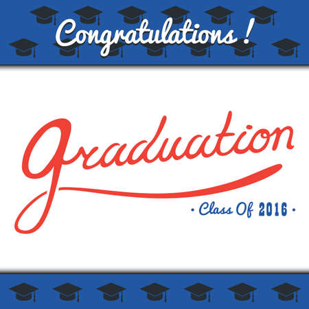 graduation party: template copy space for text. Graduation Party, Congrats, Celebrate, High School.College Graduation Vector Set.Celebration of finishing school. Minimal flat vector illustration. Illustration