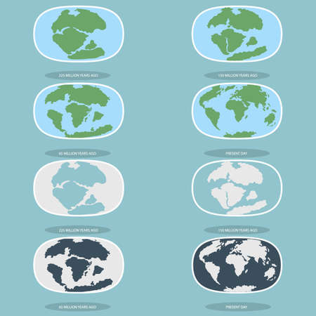 Tectonic Plates on the planet Earth. modern continents and tectonic plates infographics Set of icons Earth