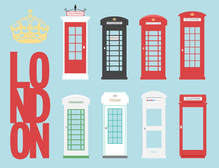telephone box: United Kingdom Telephone Box London public call vector London word