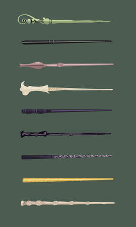 thaumaturge: Set of different magic wands for witches and wizards vintage magic sticks for witchcraft schools and fantasy games