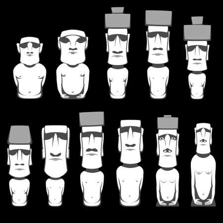 Moai ist monolithisch von den Menschen Rapa Nui geschnitzt menschliche Figuren auf der chilenischen polynesischen Insel der Osterinsel Standard-Bild - 63507851