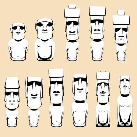 moai: Moai is monolithic human figures carved by the Rapa Nui people on the Chilean Polynesian island of Easter Island Illustration