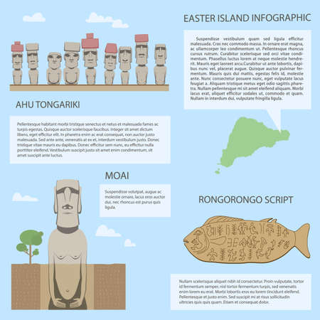 moai: Moai on Easter island different versions of Moai statues Rongorongo scripts on wooden table include real old symbols travel infographic Illustration