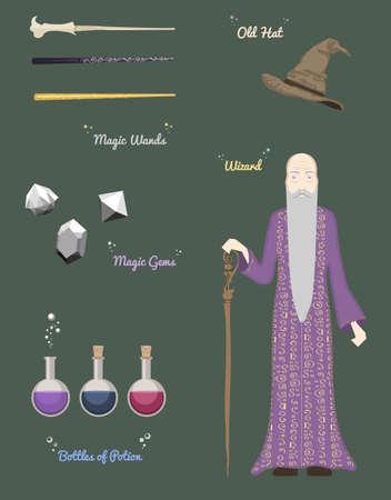 abracadabra: Magic man and crystal ball vector illustration.