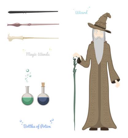 pocima: hombre de la magia y la bola de cristal ilustración vectorial. Vectores