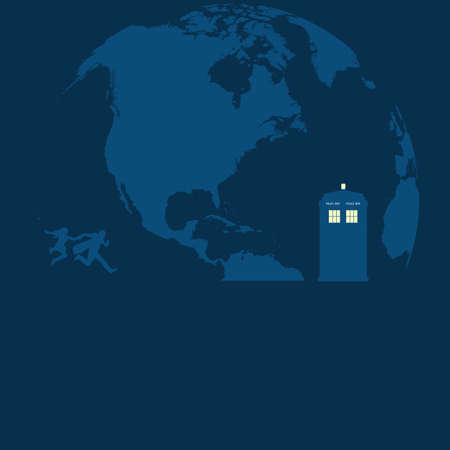 doctor who: Police Box on the moon with running people vector Illustration