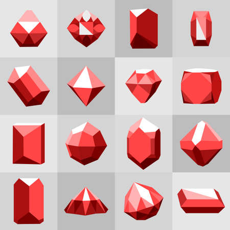 gemstone: Flat icon set. Diamond red stones on grey Illustration