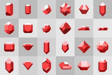 diamond stones: Flat icon set. Diamond red stones on grey Illustration