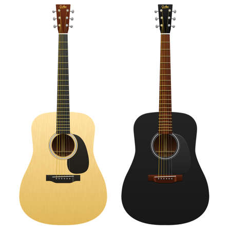 classic classical: Realistic acoustic guitars isolated two western guitars classical musical instruments acoustic guitar, classic guitar