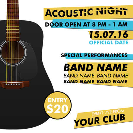 indie: Acoustic night performance poster in your club Indie musician concert show poster with realistic acoustic guitar realistic guitar