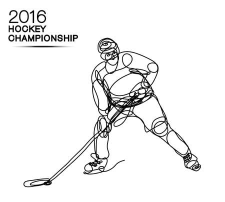 ice hockey player: Ice Hockey 2016 Championship concept art one line Hockey player with neon effect hockey, ice hockey, player of hockey, light hockey, one line hockey, champion of hockey, hockey cup Illustration