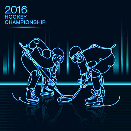 hockey players: Ice Hockey 2016 Championship concept art one line Hockey players with neon effect hockey, ice hockey, player of hockey, light hockey, one line hockey, champion of hockey, hockey cup
