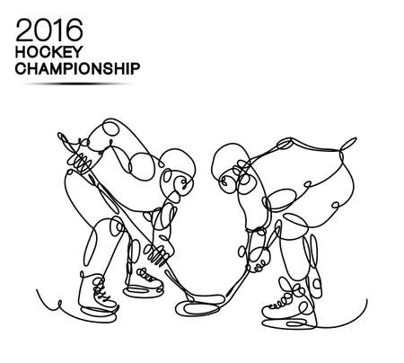 ice hockey player: Ice Hockey 2016 Championship concept art one line Hockey players with neon effect hockey, ice hockey, player of hockey, light hockey, one line hockey, champion of hockey, hockey cup