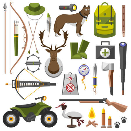 decoy: Hunting equipment kit hunting rifle, hunting knife, hunting hat, hunting suit, hunting shotgun, hunting boots, hunting decoy, hunting patronage, hunting matches, a hunting trap. Vector illustration