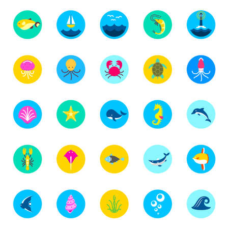 cockleshell: set of 25 sea icons marine fishes and nature flat style icons sea icons, marine icons, beautiful icons, fish icons, ocean icons, web icons, app icons, new icons, modern Illustration