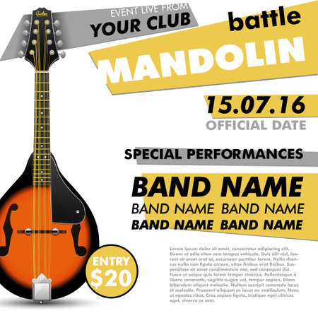 Mandolin Festival poster Mandolin battle live concert acoustic folk music indie music modern poster music poster music festival