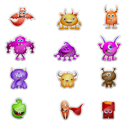 fairycake: cute monster stickers isolated on white background Stock Photo