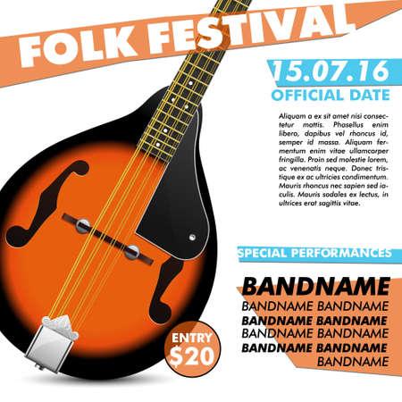 live concert: Mandolin Festival poster Mandolin battle live concert acoustic folk music indie music modern poster music poster music festival