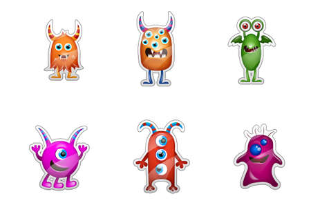 cute monster stickers isolated on white background Stock Photo