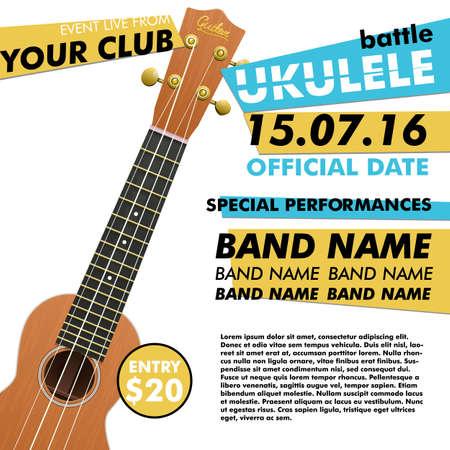 Ukulele show poster for your design ukulele battle live concert acoustic folk music indie music poster ukulele poster music event music performance