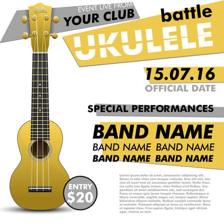 show folk: Ukulele show poster for your design ukulele battle live concert acoustic folk music indie music poster ukulele poster music event music performance