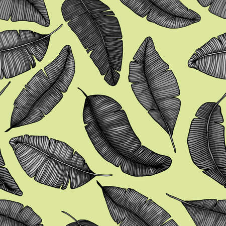botanic: Seamless hand drawn pattern with banana leaves tropical leaves texture botanic vector hand drawn illustration
