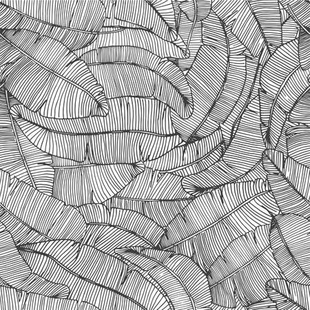 Seamless hand drawn pattern with banana leaves tropical leaves texture botanic vector hand drawn illustration Stok Fotoğraf - 63509188