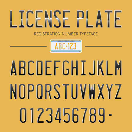nummerplaat lettertype, usa auto nummers lettertype Vector Illustratie