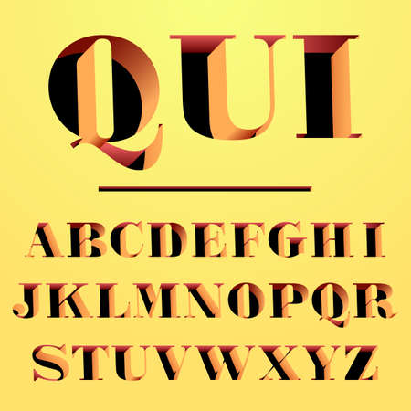 old english letter alphabet: modern font carved from the wall serif font, uppercase and lowercase Illustration