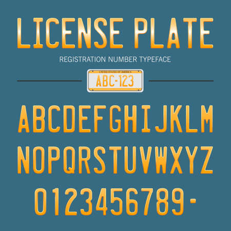 license plate: license plate font, usa car numbers font style Illustration