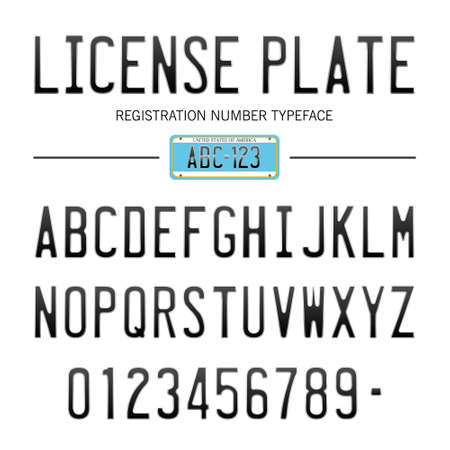 license plate font, usa car numbers font style Illustration
