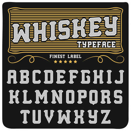 handcrafted: Whiskey label font and sample label design Vintage font. Whiskey font. Fine label font. Handcrafted font.