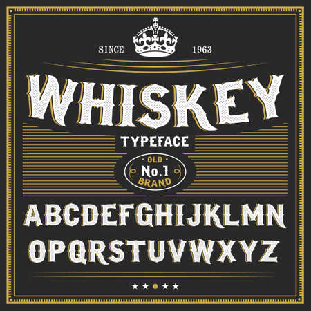 alphabet beer: Whiskey label font and sample label design Vintage font. Whiskey font. Fine label font. Handcrafted font.