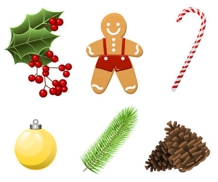 Cristmas Set with traditional realistic cartoon food and things, gingerbread man, candy, branch, christmas ball, berries isolate on white