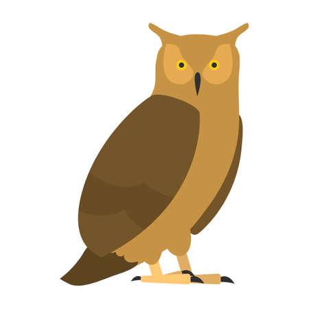 flat bird isolated on white background, beautiful illustration long-eared owl