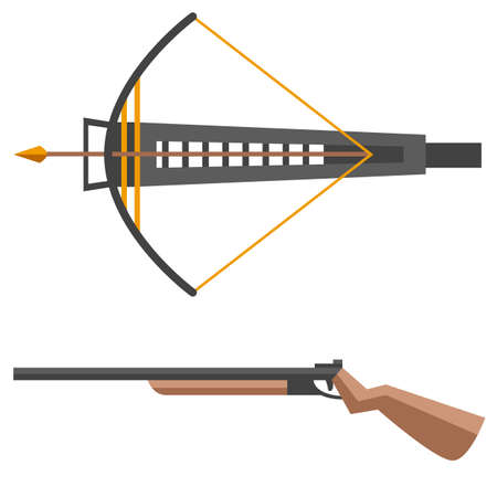 Crossbow illustration. Crossbow arbalest isolated on white background with gun Illustration